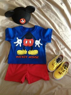 Mickey Mouse birthday theme: My son's 1st birthday outfit.