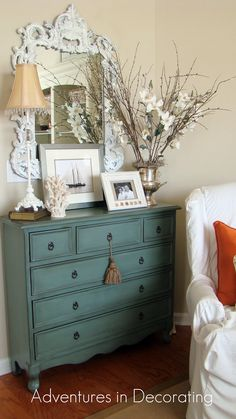 Adventures in Decorating: try painting the dresser in the office this color.