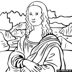 free coloring page of Leonardo Da Vinci painting - The Mona Lisa. You be the master painter! Color this famous painting and many more! You can save your colored pictures, print them and send them to family and friends! Mona Lisa Drawing, Famous Art Paintings, Art Worksheets, Free Coloring Pages, Art Plastique, Elementary Art, Famous Artists, Cute Art, Adult Coloring