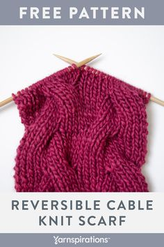 Learn how to knit reversible cables with this free scarf pattern. #Yarnspirations #Patons #PatonsAlpacaBlend #FreeKnittingPattern #StitchfulResolutions2019 Cable Knitting Patterns, Knitting Stiches, Knitting Blogs, Easy Knitting, Knit Scarves Patterns Free, Knitted Scarves, Vogue Knitting, Knit Sweaters, Knitting Machine