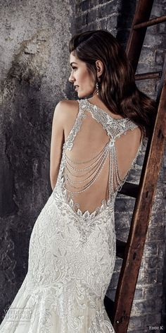 eddy k 2018 bridal sleeveless v neck heavily embellished bodice elegant romanitc mermaid wedding dress open embellished back chapel train (209)  This is a true piece of art. Too bad my daughters wedding is past, but I just pinned this for its true art and beauty!
