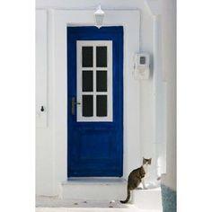 Village Door with Cat Kokkari Samos Aegean Islands Greece Canvas Art - Walter Bibikow DanitaDelimont (18 x 27)