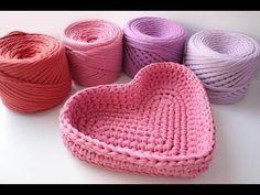 Корзинка сердце из трикотажной пряжи - YouTube | EL GANCHO - LA CESTA | Postila