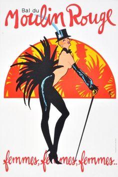 Bal de Moulin Rouge Gruau, 1983 - original vintage poster by Rene Gruau (Renato Zavagli Ricciardelli delle Caminate) listed on AntikBar.co.uk