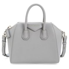 Women's Givenchy 'Mini Antigona' Sugar Leather Satchel (€1.500) ❤ liked on Polyvore featuring bags, handbags, purses, accessories, sacs, pearl grey, grey leather handbags, leather man bags, mini handbags and leather satchel handbags
