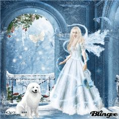 Winter Fairy With Her Dog Picture #120291576 | Blingee.com