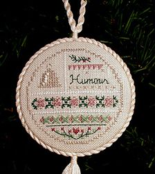 Needlepoint Ornament; Humour is a Virtue