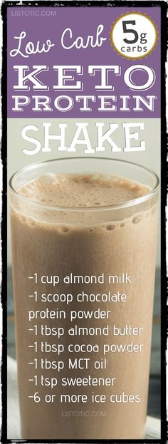 Low Carb Keto Protein Shake Recipe For Weight loss -- great meal replacement! | 10 easy keto smoothie and drink recipes that will change the way you look at eating low carb. For breakfast, dessert and more! Listotic.com
