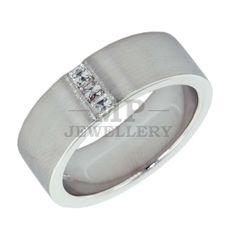 18 Carat White Gold & Diamond Mens Wedding Ring. Handmade.