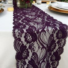 30ft Plum Lace Table Runner/ 7 WIDE /Wedding by LovelyLaceDesigns