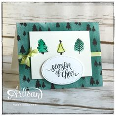 Hi stampers! Are these little Christmas trees not the cutest things you've ever seen? I just love them! I thought they'd look great with the trees in the Merry Little Christmas DSP. That's the one
