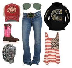 """""""I Am Bored"""" by im-a-jeans-and-boots-kinda-girl on Polyvore featuring Durango, Ray-Ban and John Deere"""