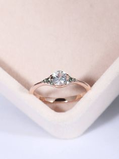 Rose gold engagement ring Cluster engagement ring Women Wedding White green sapphire Simple Birthstone Bridal set Jewelry Anniversary gift by RingOnly on Etsy https://www.etsy.com/ca/listing/500453551/rose-gold-engagement-ring-cluster #simplebridalsets