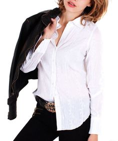 Look what I found on #zulily! White Crepe Button-Up Top - Women #zulilyfinds