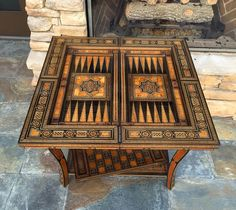 Moroccan / Syrian beautiful hand inlaid backgammon & chess folding game table. #Moroccan