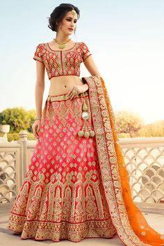 Bridal Wear Red and Orange coloured Lehenga Choli #RajwadiLehengas #Lehengas #BridalLehengas #Red #Orange #FeelRoyal