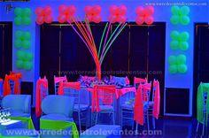 Resultado de imagen para decoracio npara fiestas de 15 neon