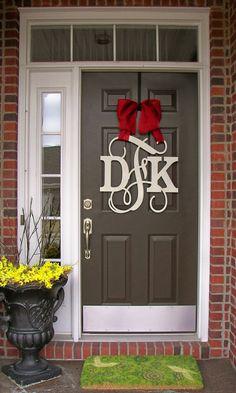 Custom MONOGRAM door hanger / BURLAP bow/ NEUTRAL colors/Block and Script/ 24 inch/ chevron/Initial/wooden/wedding gift/front door decor, $65.00
