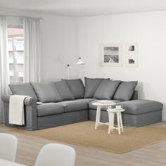 GRÖNLID Corner sofa, with open end/Inseros white. This sofa is extra deep, has soft and moveable back cushions, and comes in various sizes and shapes – everything for your comfort. Smart Furniture, Affordable Furniture, Home Furniture, Storage Footstool, Deep Seat Cushions, Large Sofa, Corner Sofa, Fabric Sofa, Storage Spaces