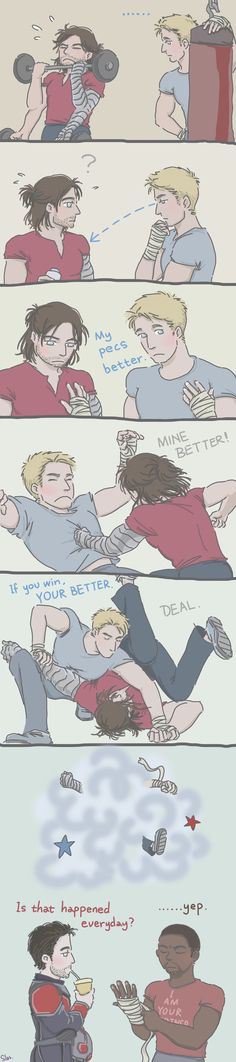 Steve and Bucky: Physical Training by SilasSamle on DeviantArt