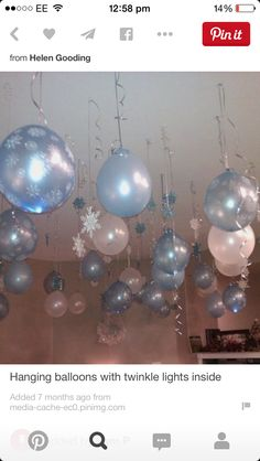 Hanging balloons with twinkle lights inside. fun idea for a frozen inspired party. Frozen Themed Birthday Party, Elsa Birthday, 4th Birthday Parties, 3rd Birthday, Birthday Ideas, Frozen Princess Party, Ice Princess, 1st Birthdays, Winter Wonderland Birthday