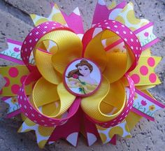 Disney Princess Belle Custom Boutique Hair Bow by on Etsy Ribbon Hair Bows, Diy Ribbon, Bow Hair Clips, Flower Hair Clips, Ribbon Crafts, Diy Crafts, Disney Princess Hairstyles, Princess Hair Bows, Girl Hair Bows
