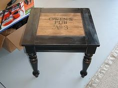 end table makeover with vintage wine crates