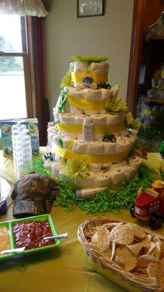 """""""L""""'s John Deere diaper cake"""