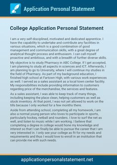 personal statement example for college applications
