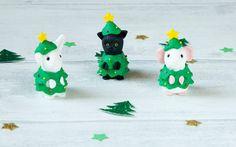 Cat Christmas Tree Figure. Miniature Pet Ornament. by GizzysGifts