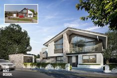 We created branding and WIZIO-CGI photorealistic architectural visualisation for Tony Holt Design Bournemouth London UK. Also provided high end printing 3d Architectural Visualization, Architecture Visualization, Bungalow Renovation, Villa, Timber Cladding, Facade House, House Facades, House Extensions, 3d Max