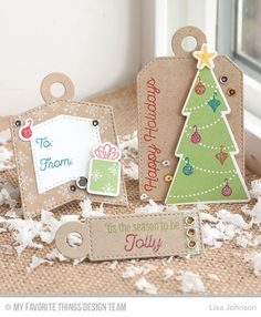 Trim the Tree, Tag Builder Blueprints 4 Die-namics, Trim the Tree Die-namics - Lisa Johnson  #mftstamps