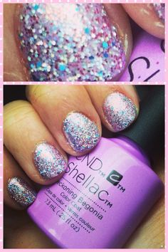 CND Shellac Beckoning Begonia from the NEW Garden Muse Collection layered with Lecenté glitter in Goddess!!