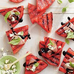 grilled watermelon with prosciutto + blue cheese.