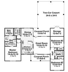 First Floor Plan of Country   Farmhouse  Traditional   House Plan 59225 less than 1400 Sq feet. Really like this one.