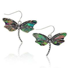 """Silver tone and abalone Dragonfly dangle earrings.1.5"""" width1.5"""" length"""