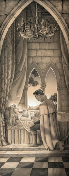 """Aurora and Phillip from """"Sleeping Beauty"""" - Art by Edson Campos"""