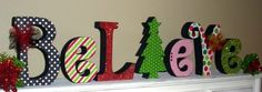 Believe Christmas wood letter set