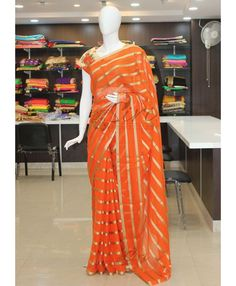 Orange Georgette Saree in Self Strips with Designer Blouse Fabric