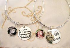 I Love You to the Moon & Back Photo Charm Bracelet, You Are My Sunshine Charm Bracelet, Mother's Bracelet, Mom Gift, Grandmom Gift, New Mom by ShoreCrafty on Etsy