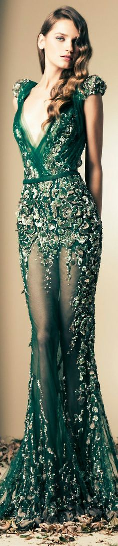 Ziad Nakad Couture | Fall/Winter 2014 #gown #dress #elegant #green