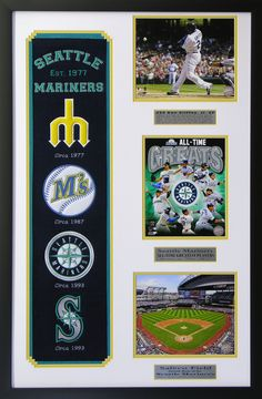 Seattle Mariners MLB Heritage Wall Art. Great for a man cave, basement or office! Great gift for the man in your life.