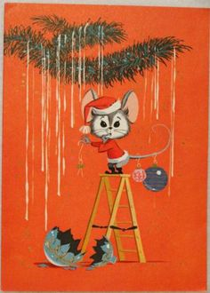 #1839 60s California Artists Mouse on a Ladder- Vintage Christmas Card-Greeting