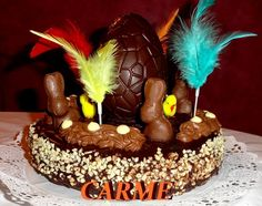 Mona de Pascua de chocolate y trufa. Ver la receta http://www.mis-recetas.org/recetas/show/41491-mona-de-pascua-de-chocolate-y-trufa