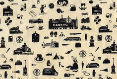 Wrapping paper from Hankyu Department Store, Japan 阪急百貨店包装紙 Simple Illustration, Old Ads, Commercial Design, Blog Entry, Packaging Design, Print Patterns, Wraps, Stamp, Graphic Design