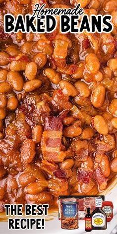 Baked Beans In Oven, Canned Baked Beans, Baked Beans With Bacon, Homemade Baked Beans, Baked Bean Recipes, Good Baked Beans Recipe, Canned Beans Recipe, Grill Recipes, Barbeque Side Dishes