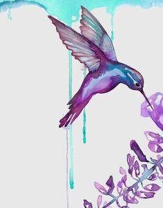 Hummingbird Art / purple and turquoise by BellaAndBunny on Etsy