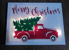 Items similar to Christmas Truck Lighted Sign - Christmas - rustic truck - lighted canvas on Etsy - This adorable rustic tuck Christmas lighted canvas is the perfect addition this holiday season. Christmas Canvas Art, Christmas Paintings, Christmas Wood, Christmas Signs, Diy Christmas Gifts, Holiday Crafts, Christmas Decorations, Christmas Ideas, Christmas Salon