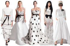 45 Modern Classic Gowns for Summer Weddings -- Black on White. L-R: Proenza Schouler, Sabrina Dahan, Francesca Miranda, Vera Wang Bride, and Elizabeth Fillmore.