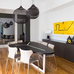 Moooi Non Random Lights in black bring drama to the dining room #diningroom #lighting #interiors